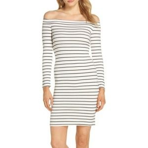 BB Dakota Bridget Off Shoulder Fitted Stripe Dress
